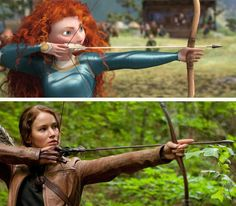 The similarities between Merida and Katniss are blatantly obvious. Their rebelliousness, ability to challenge traditional gender norms (and skill with a bow and arrow) make these two heroines the perfect role models for young girls.