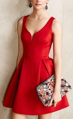 Retro Style V-Neck Candy Color Sleeveless Dress For Women