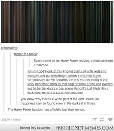 Every frame in the Harry Potter movies. If this is what happens to the Harry Potter fans, I dread to think of the Sherlock fandom if the show is ever cancelled...we're insane enough as it is...