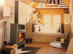 Cozy reading nook wood stove tiny house