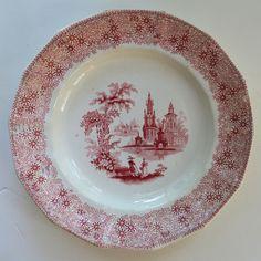 Antique 19th Century E Challinor Red Transferware Plate Chintz Border