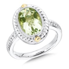 Green Amethyst Ring - An Elegant Sterling Silver and 18k Yellow Gold 12 x 8 mm Faceted Green Amethyst Ring.