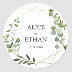 Greenery Geometric Wedding Classic Round Sticker Simple Baby Shower, Baby Shower Thank You, Geometric Wedding, Floral Wedding, Botanical Wedding, Rustic Mason Jars, Thank You Stickers, Wedding Stickers, Wedding Events
