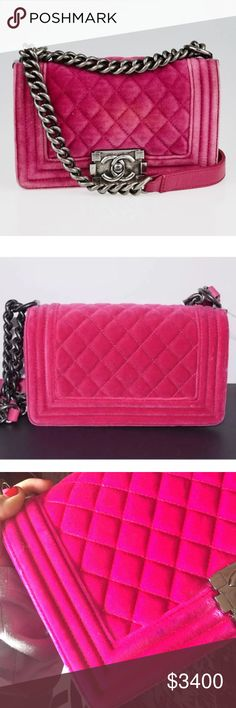 Chanel!! Pink velvet small boy bag w/ silver chain Sold out in stores!!! Perfect condition with only one minor flaw. A little blue spot from where fabric rubbed against it. See pic 3 to understand. Other than that perfect and you can literally barely tell unless you stare.Contact me if you need to see more pics since posh only allows 4! I'll provide authentication code and inside pics! CHANEL Bags Shoulder Bags