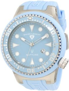 Swiss Legend Men's 21818D-012 Neptune Light Blue Dial Light Blue Silicone Watch Swiss Legend. $69.00. Light blue dial with silver tone and white hands and hour markers; luminous; unidirectional stainless steel bezel with light blue ring and silver tone arabic numerals; screw-down crown. Water-resistant to 100 M (330 feet). Date function at 4:00. Mineral crystal with sapphire coating; stainless steel case with light blue silicone cover and strap. Swiss quartz movement