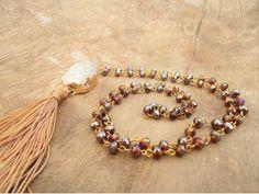 Honey Rosary Necklace Rosary Necklace, Long Pendant Necklace, Beaded Necklace, Gold Necklace, Beaded Bracelets, Bohemian Necklace, Unique Necklaces, Stone Pendants, Promise Rings