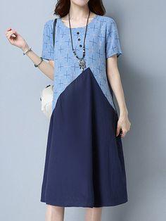 Vintage Women Short Sleeve Patchwork Pocket Dresses