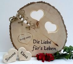 Ein schönes Geschenk und gleichzeitig eine bleibende Erinnerung an den schönst. A beautiful gift and at the same time a lasting memory of the most beautiful day in life! The tree disk has a diameter Wood Gifts, Diy Gifts, Best Gifts, Wood Chair Design, Tree Slices, Wood Burning Art, Wood Creations, Wood Art, Wood Projects