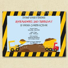 Construction Site Birthday Invite - PRINTABLE INVITATION DESIGN. $12.00, via Etsy.