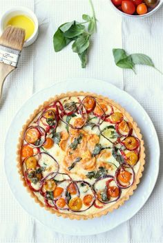 Roasted vegetable quiche on a crisp  chili pastry