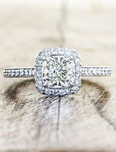 unique engagement rings, halo, cushion cut diamond | Ken & Dana Design $2,500.00