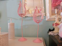 Shabby chic wrought iron candle holders