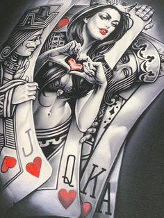 queen of hearts in the middle of jack and king card Playing Card Tattoos, Playing Cards Art, Lettrage Chicano, Chicano Tattoos, Kunst Tattoos, Tattoo Drawings, Og Abel Art, Card Tattoo Designs, Queen Of Hearts Tattoo