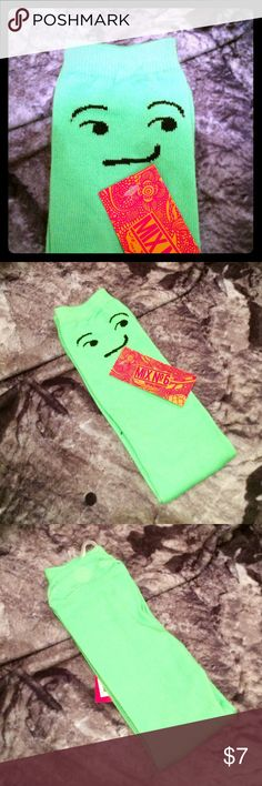 NWT Fun & Funky Face Socks in Lime Green NWT Fun & Funky Face Socks in Lime Green by Mix No 6. 99% polyester 1% elastic. Mid calf length Mix No 6 Accessories Hosiery & Socks
