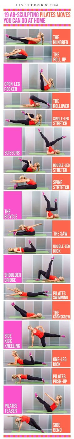 19 Ab Sculpting Pilates Moves You Can Do At Home fitness workout exercise exercise tutorials fitness tutorials workout tutorials