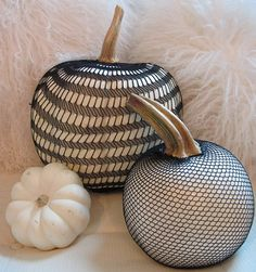 Fishnet Pumpkins for Halloween, take off for continued use through thanksgiving
