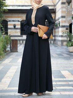 Contrast Hooded Abaya Muslim Dress, Hijab Dress, Abaya Fashion, Muslim Fashion, Black Abaya, Abaya Designs, Islamic Clothing, Casual Work Outfits, Mode Hijab