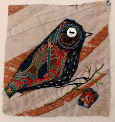 Unframed appliqued bird with embroidery on to by MandyPattullo, £25.00... hmm…