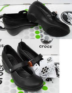 Occupational 53548: Crocs Ginger Juniper Saffron Leather Wedge Work Shoe~Black~Women 10~Nwt -> BUY IT NOW ONLY: $54.95 on eBay!