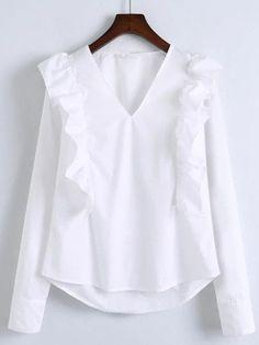 Blusa con cuello en V ribete con volantes - blanco-Spanish SheIn(Sheinside) Sitio Móvil