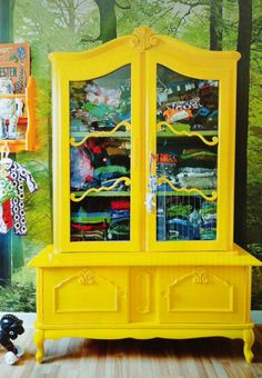 Bright yellow clothes storage