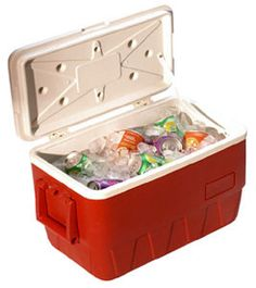 Cooler filled with cold drinks