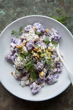 Raw Cauliflower Salad with Horseradish, Dill and Yoghurt Dressing