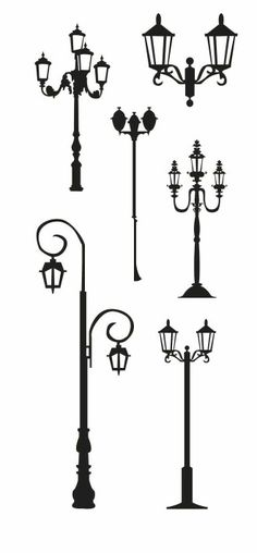 KLDezign SVG free - Street lights and lamp post Silhouette Cameo, Silhouette Images, Silhouette Portrait, Silhouette Files, Silhouette Projects, Street Lamp, Digital Stamps, Zentangles, Paper Art