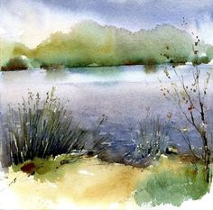 Watercolor Painting Techniques, Watercolor Projects, Watercolor Landscape Paintings, Watercolor Artists, Landscape Art, Watercolor Water, Watercolor Trees, Watercolor Artwork, Watercolor Drawing