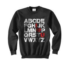 ABCD I love U Ed Sheeran Black Crewneck Sweatshirt by QueenShirt, $30.50
