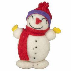 Felted Wool Snowman Ornament - Tango Zulu Imports