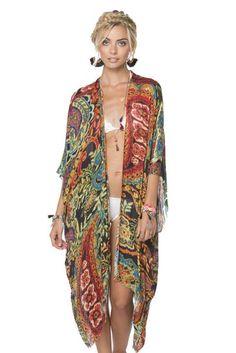 Pretty n' Paisley Modal Kimono Wrap in Multi