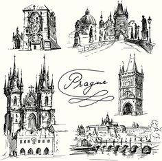 Prague - hand drawn collection by Canicula, via Shutterstock Architecture Sketchbook, Architecture Tattoo, Tattoo Prague, Building Tattoo, Travel Symbols, Bullet Art, Trippy Drawings, City Sketch, Color Pencil Art