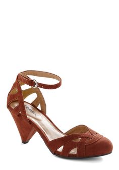 LOVE THESE, but not sure about the color. They also come in black...  Cinnamon Scones Heel - Brown, Solid, Cutout, Work