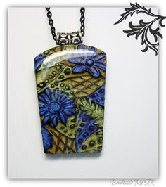 Mossy Green & Purple Carved Pendant, polymer clay jewelry.