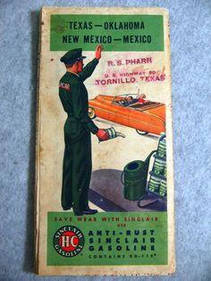 1950s Sinclair Gasoline Station Road Map Texas Oklahoma New Mexico | eBay