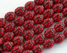 Czech Glass Ladybug Beads Red Lady Bug Beads di BeachCastleBeads