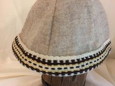 Viking, Norse, Anglo Saxon,  beige wool with yellow, brown and beige inkle trim