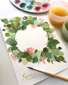 ✔️Paper: 400 series watercolor pad ✔️Paint: Van Gogh ✔️Brush: locally bought (no brand) . Wreath Watercolor, Watercolor Cards, Watercolour Painting, Watercolor Flowers, Painting & Drawing, Watercolors, Painting Flowers, Watercolor Artists, Watercolor Portraits