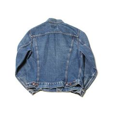 "Blackbird Vintage Vintage ""gd"" Levis Big E Trucker Jacket ($145) ❤ liked on Polyvore featuring men's fashion, men's clothing, men's outerwear, men's jackets, jackets, outerwear, tops, coats and mens vintage jackets"