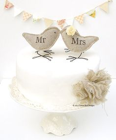 Mr and Mrs Cake Topper Burlap Wedding Birds
