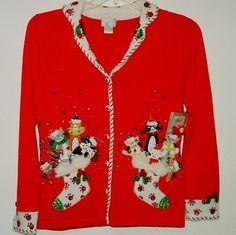 Christmas Sweater Womens Small Berek Cats Red Beaded New Tag Slight DAMAGE #Berek #Cardigan #Christmas