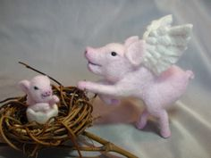 Needle Felted Flying Pig with Piglet by Laurie Valko