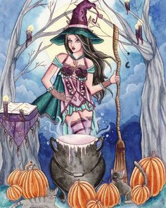 Items similar to Halloween Witch Sticker - Fantasy Art - Wiccan Spell Magic Fairy - Morissa - by Nikki Burnette on Etsy Halloween Fairy, Halloween Witches, Halloween Cards, Autumn Witch, Witch Pictures, Beautiful Witch, Medieval, Pagan Art, Wiccan Witch