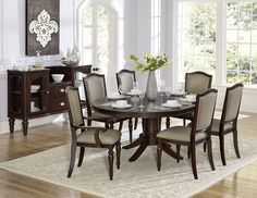 Marston Collection Arm Chair 2615DCA Refined elegance is exemplified in the design of the Marston Collection. With three available table options, there is a perfect match for your home – a double pedestal base rises to support the clipped-corner rectangular tabletop of the 96-inch table, the oval topped pedestal table, and the counter height display base table – are each flanked by chairs that feature turned front legs and nail head accent, along with a neutral tone fabric that covers the…