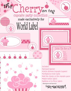 Cupcake party collection of labels, cards, banners...