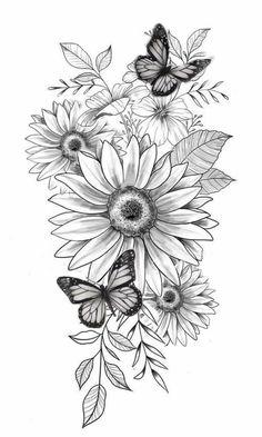 Sunflower Tattoo Sleeve, Sunflower Tattoos, Sunflower Tattoo Design, Colorful Sunflower Tattoo, Butterfly Sleeve Tattoo, Sunflower Drawing, Flower Sleeve, Neue Tattoos, Body Art Tattoos