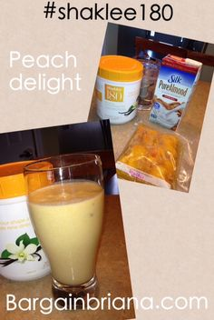 Peach Delight Smoothie: 2 scoops vanilla protein, one cup almond milk, one cup frozen peaches
