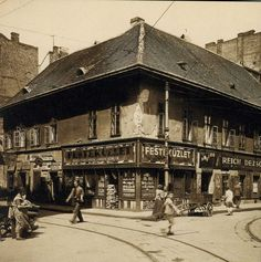 Dob utca / Csányi utca - corner, ca. Old Pictures, Old Photos, Vintage Photos, Budapest Hungary, Historical Photos, Tao, Louvre, Europe, Landscape