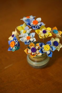 Done - paint chip button flowers